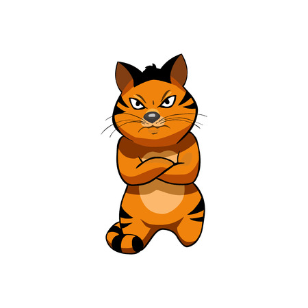 displeased: Tiger, cat; Cartoon Character. Displeased Illustration