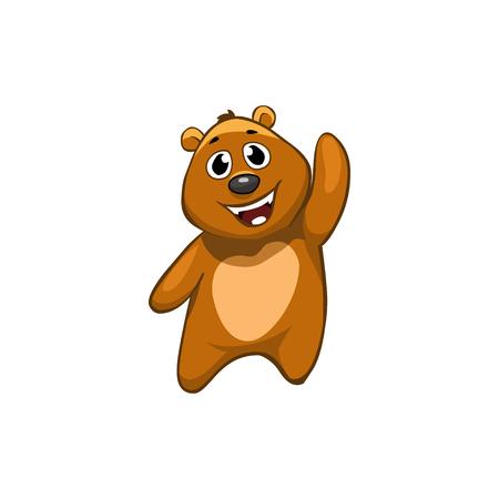 Brown Bear Cartoon Character.  Emotion: funny,  friendly, saying HI