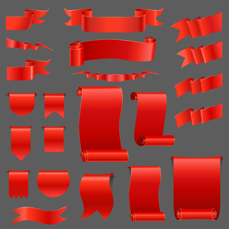 curled: Set  of realistic silk red ribbons, flags, banners. Red curled ribbons on grey background