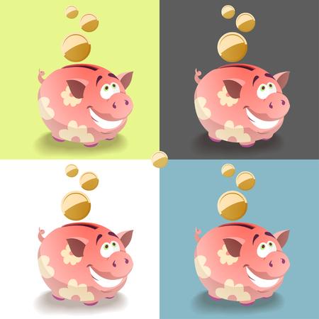 Cartoon rose icône de la tirelire avec une pièce de monnaie. Design plat