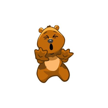 shouting: Brown Bear Cartoon Character. Emotion: shouting NO!