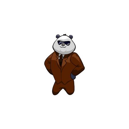 panda bear: panda Bear Cartoon Character.  businessman Illustration