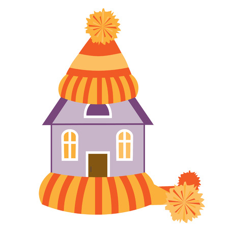 warming up: House in colorful hat and scarf.  Illustration