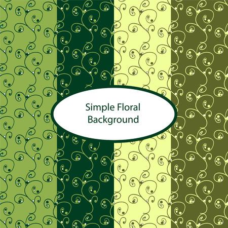 Green floral seamless background. Vector illustration  Illustration