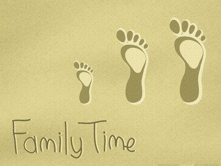 Dad, mum and child footprints on the sand. Vector illustration, eps10 format