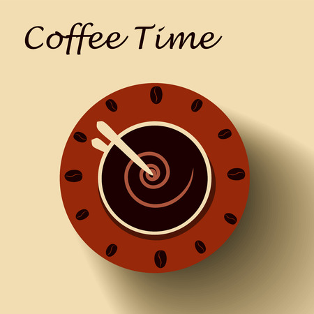 vectro: Coffee cup as clock. Coffee time concept. Vectro illustration eps10 format