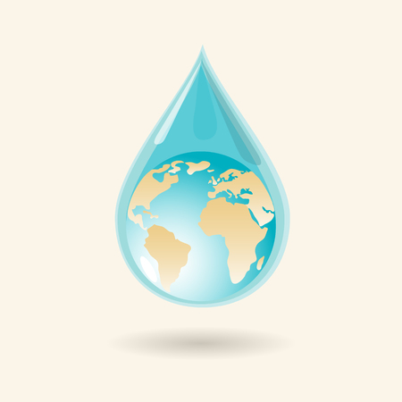 cleaning planet: Earth in water drop. Vector illustratiion