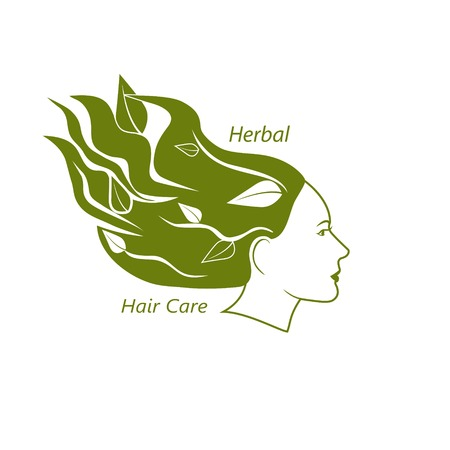 wavy hair: Woman head with wavy hair and leaves in it. Herbal hair care and beauty salon concept. . Vector illustration