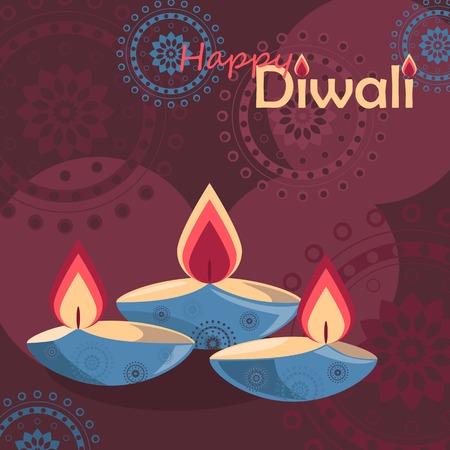 deepawali backdrop: Three burning diya, candles on Diwali Holiday background. Vector illustration
