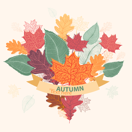 hands tied: Bouquet of autumn colorful leaves tied with ribbon. Vectot illustration in eps format.
