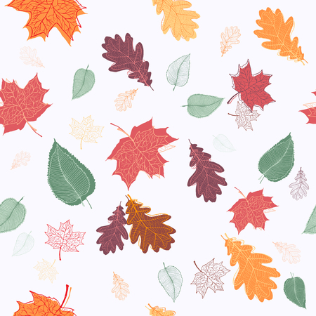 green background pattern: Autumn leaves seamless pattern. Vector illustration in eps8 format.