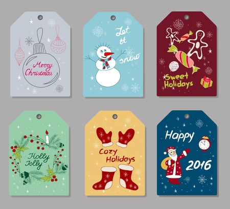 attributes: Set of hand drawn Christmas and New Year gift tags, small greeting cards with holidays attributes such as fir-tree balls, snowman, sweets, fir tree branches, Santa etc.  Illustration