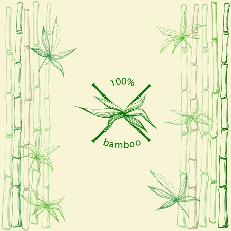 bamboo leaf: Hand drawn bamboo leaves with crossed stems as natural bamboo symbol on bamboo background.Vector illustration in eps8 format. Illustration