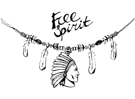 necklace: Hand drawn ink necklace in boho style with war bonnet and feathers. Could be used for t-shirt design. Vector illustration in eps8 format.