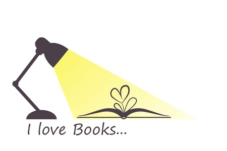 bookseller: Open book, heart flower and turned on lamp in flat style. I love books and reading concept. Vector illustration in eps8 format. Illustration