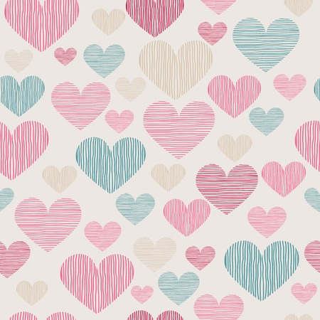 sweet background: Hand drawn stripped hearts seamless pattern. Vector illustration in eps8 format.