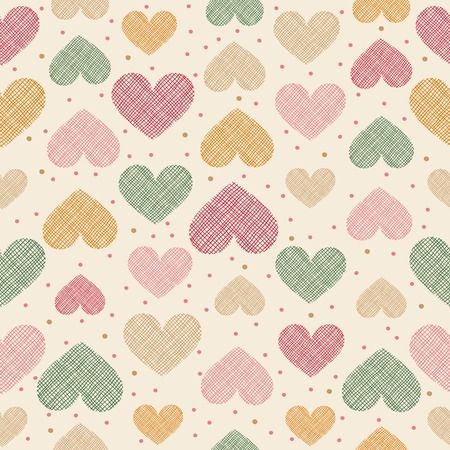 stripped: Hand drawn stripped hearts seamless pattern. Vector illustration in eps8 format.