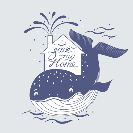 preservation: Whale and sea, ocean protection, preservation symbol.  illustration