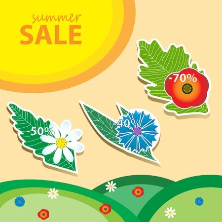 sun flower: Summer sale price tags.