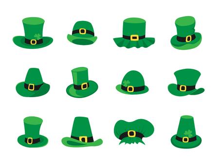 17th march: Set of leprechaun hats, St. Patricks Day symbol.