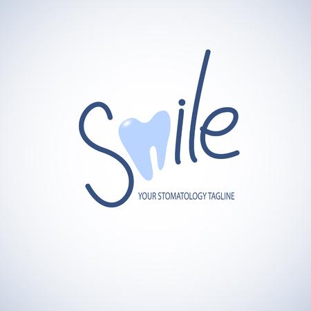 Dental, plantilla clínica de la estomatología con el icono del diente.