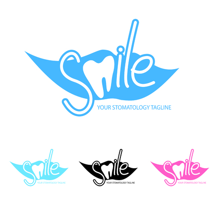 tagline: Dental, stomatology clinic logo template with smile and tooth icon. Vector illustration in eps10 format.
