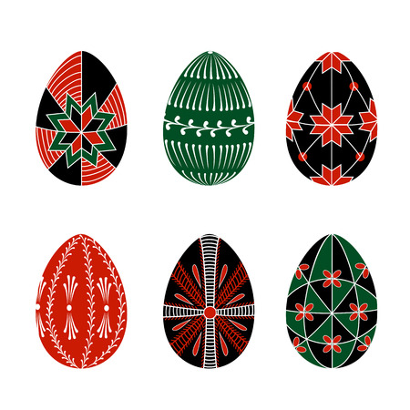 Easter eggs decorated with ethnic ornaments Ilustração