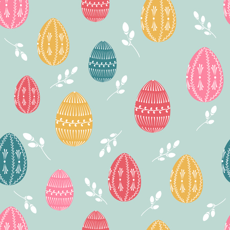 pussy willow: Easter seamless pattern