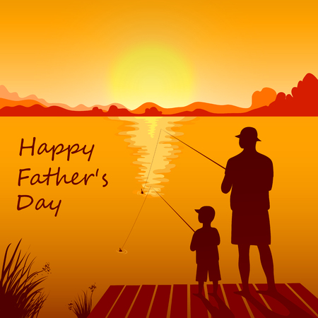 Dad and son fishing on the sunset together. Illustration