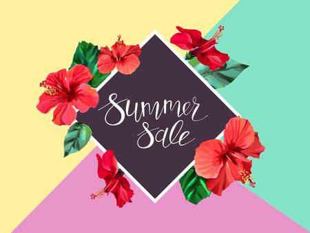 Annuncio annuncio di vendita estiva, banner, volantino Archivio Fotografico - 82413328