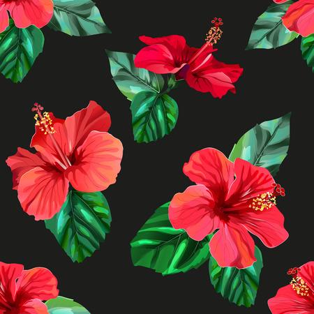 Patrón sin fisuras de flores tropicales de hibisco rojo Ilustración de vector