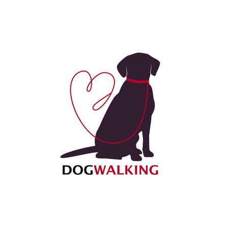 Dog walking logo template with sitting dog silhouette. Vector Illustration
