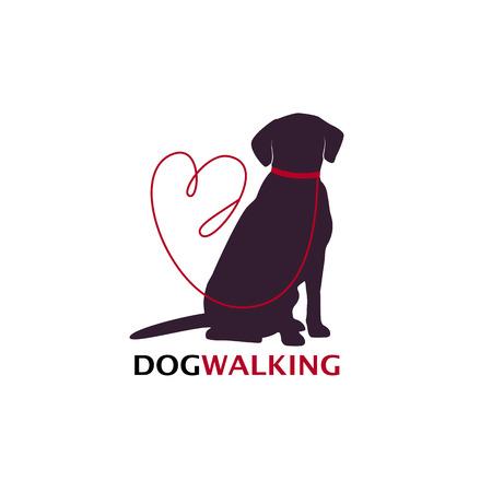 Pies chodzić logo szablon z siedzący pies sylwetka. Ilustracja wektorowa