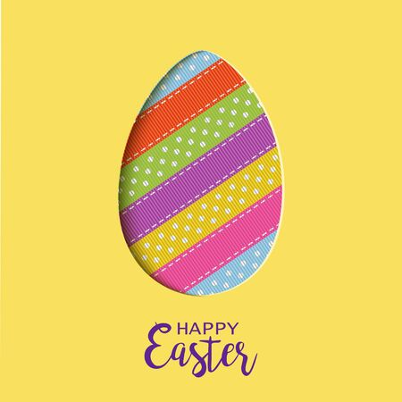 Happy Easter card with lettering, cut out Easter egg Ilustracja