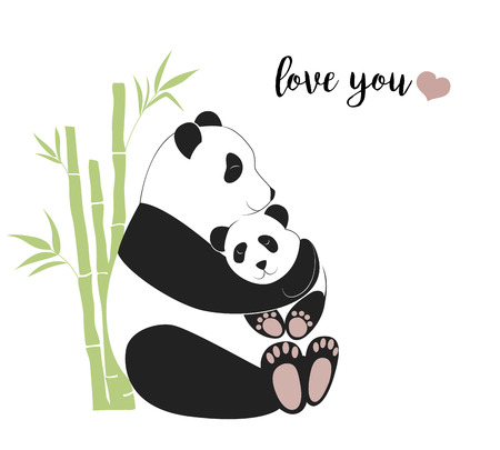 Panda mother hugging baby panda, happy mothers day greeting card, love between mom and her child, caring and nursery concept. Vector illustration in flat style, eps8 format