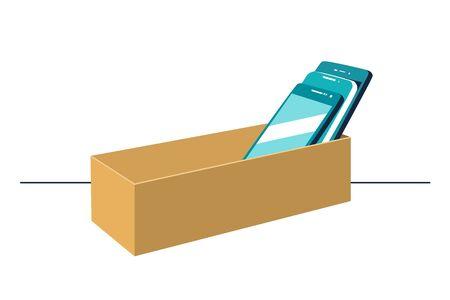 Smartphones in cardboard box symbolizing digital detox concept. Mobile phones rejection, prohibition sign.