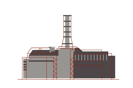 Nuclear plant in flat style. Nuclear power, energy icon. Vecteurs
