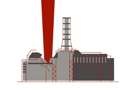 An explosion of the nuclear reactor and atom radiation emission at nuclear power plant. Ilustração