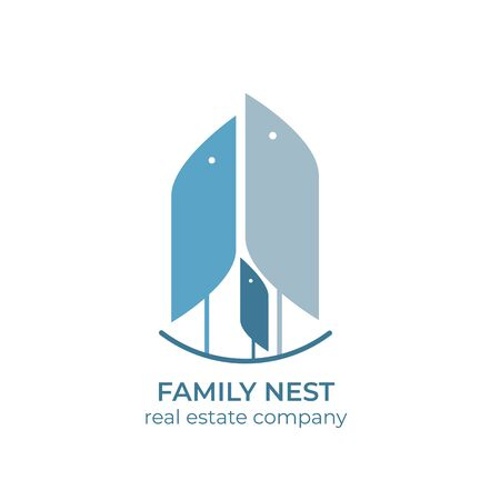 Real estate copmany logo template. Real estate for families. Birds family in the nest.