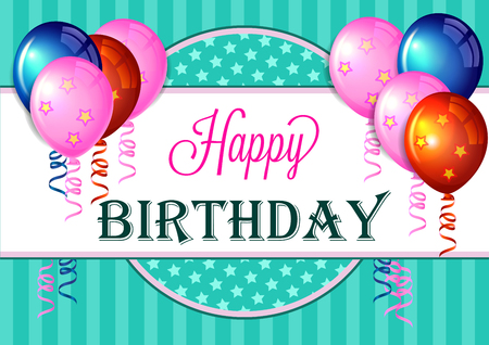 text pink: Happy birthday greeting card with colorful balloons.