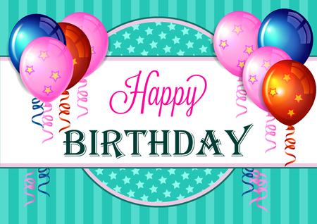 ni�os con pancarta: tarjeta de felicitaci�n de cumplea�os feliz con los globos coloridos.