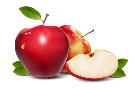 apple slice: Red apples with green leaves and apple slice - illustration