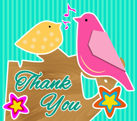 two birds: Cute Thank You Card with Two Birds Sitting on a Tree