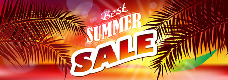 hot summer: Summer Sale. Summer sale banner background Illustration