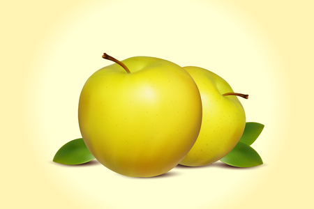 green apples: Green Apples Banner. Two Realistic Apples with Green Leaf. Background with Fresh Green Apples. Yellow Apple.