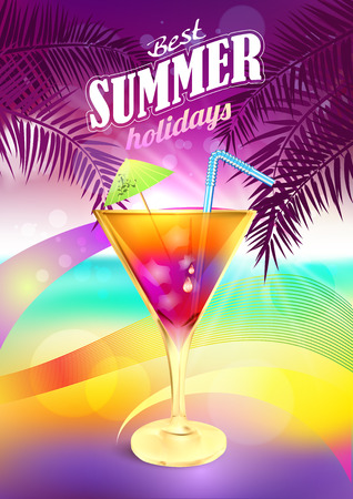 sunset beach: Summer holidays background vector with cocktail. Beach Holiday. Party Cocktail. Tropical Beach Party. Summer Beach Party. Cocktail Beach.