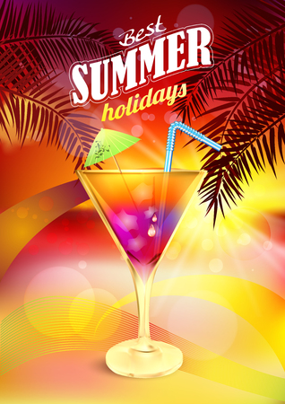 bar scene: Summer Holidays Card. Tropical summer sunset background vector with cocktail.