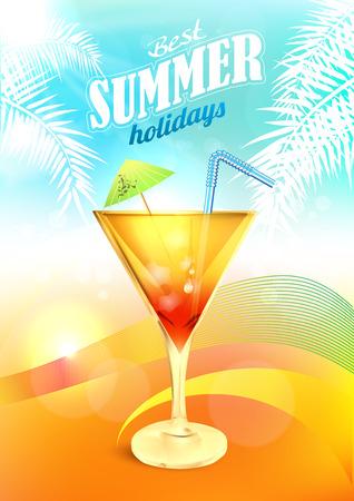 カクテルで夏の休日のベクトル。ドリンクを飲みながら夏のパーティーの背景。夏のビーチ カクテル ポスター。