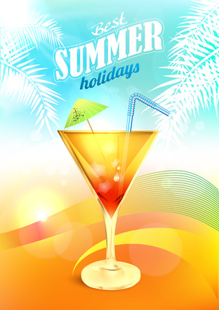 Summer Holidays Vector with Cocktail. Summer Party Background with Drink. Summer Beach Cocktail Poster.