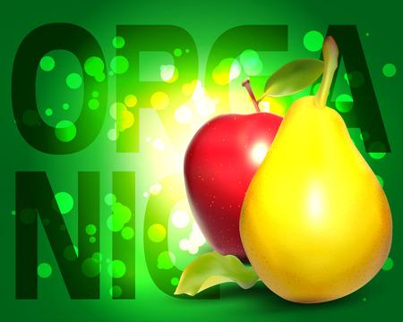 Fresh Fruit Fond organique. Aliments biologiques. Poire Jaune. Fruit réaliste.